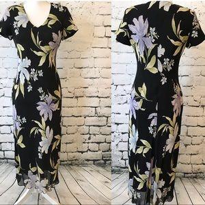 Evan Picone Vintage Black Floral Midi Dress Size 8